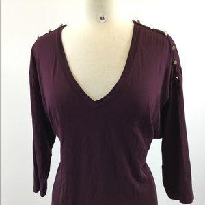 Gap Purple V Neck Button Shirt Size M (B-88)